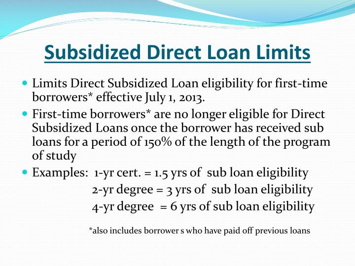 Subsidized Direct Loan Limits