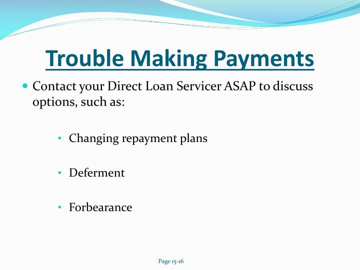 Trouble Making Payments