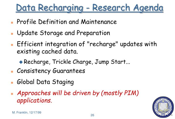 Data Recharging - Research Agenda