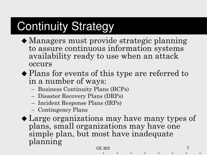 Continuity Strategy