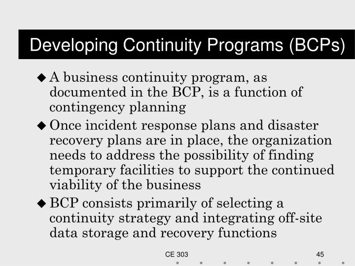 Developing Continuity Programs (BCPs)