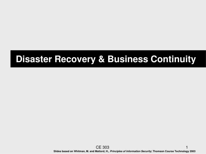 Disaster recovery business continuity
