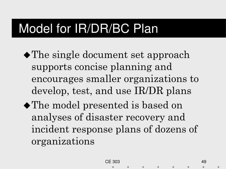 Model for IR/DR/BC Plan