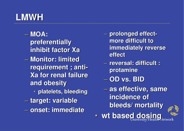 MOA: preferentially inhibit factor Xa