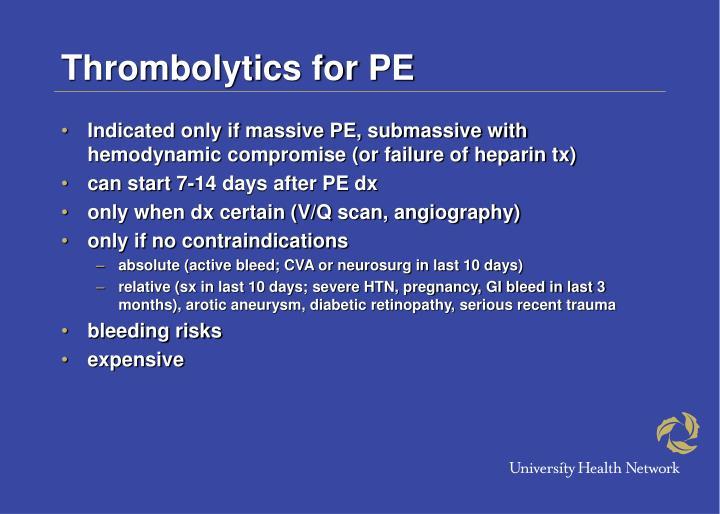 Thrombolytics for PE