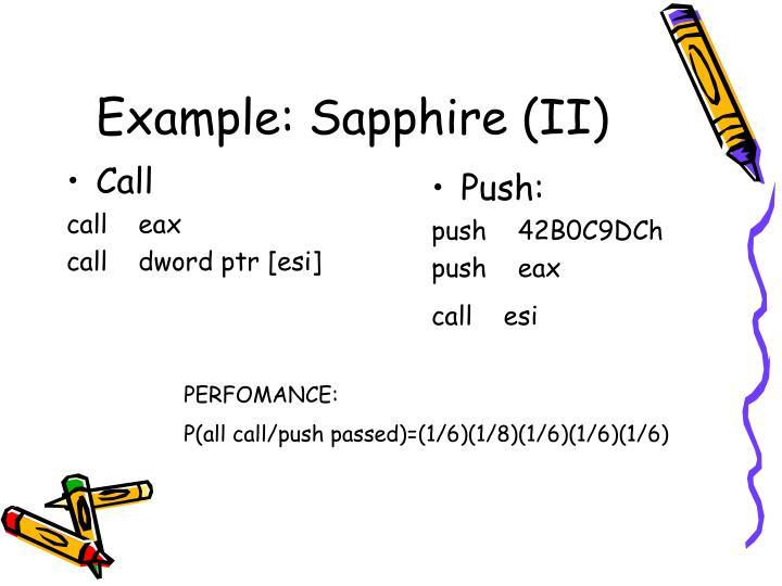 Example: Sapphire (II)