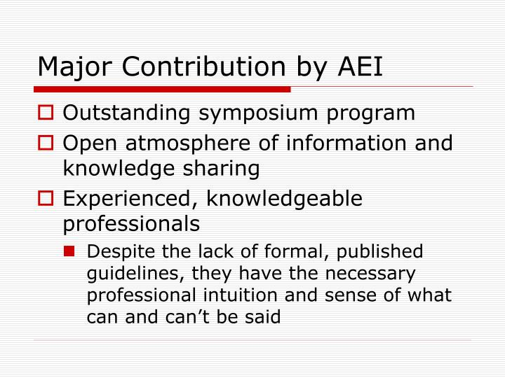 Major Contribution by AEI