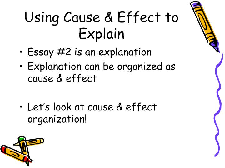 cause and effect essay ideas Tip sheet writing cause and effect papers cause and effect papers use analysis to examine the reasons for and the outcomes of situations they are an attempt to discover either the origins of something, such as an event or a decision, the effects or results that can be properly attributed to it, or both.