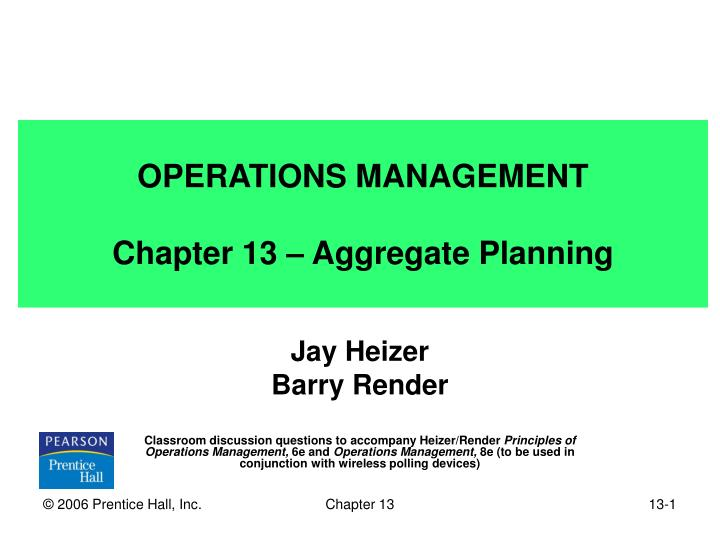 chapter 13 aggregate planning Practice problem: chapter 13, aggregate planning problem 1: set the following problem up in transportation format and solve for the minimum cost plan period feb mar apr demand 55 70 75 capacity regular 50 50 50 overtime 5 5 5 subcontract 12 12 10 beginning inventory 10 costs regular time $60 per.