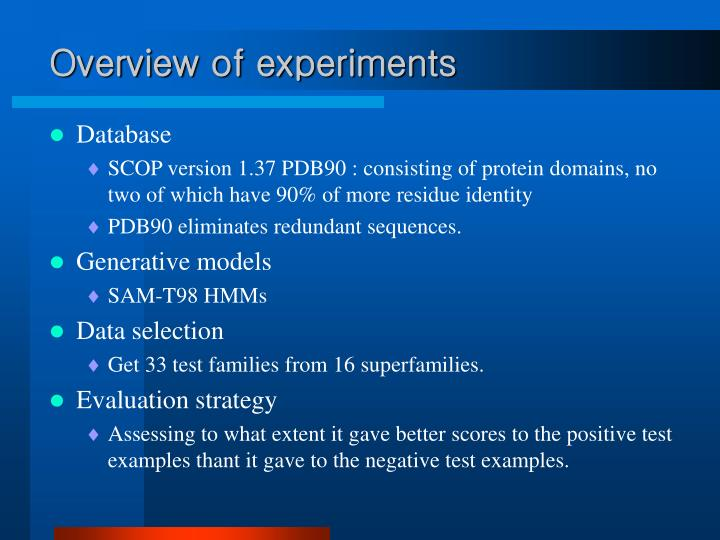Overview of experiments