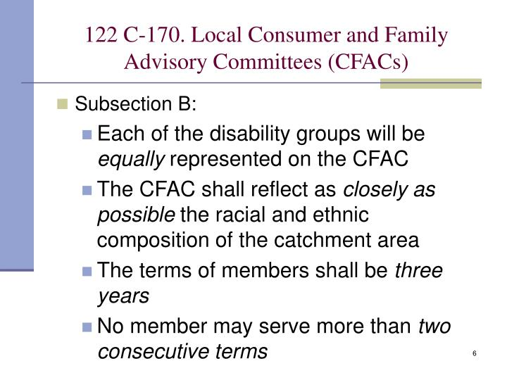 122 C-170. Local Consumer and Family Advisory Committees (CFACs)