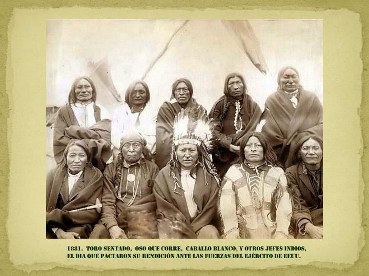 1881.  TORO SENTADO,  OSO QUE CORRE,  CABALLO BLANCO, Y OTROS JEFES INDIOS,                           EL DIA QUE PACTARON SU RENDICIÓN ante las fuerzas del ejército de EEUU.