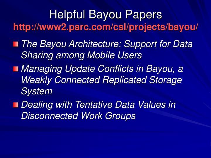 Helpful Bayou Papers