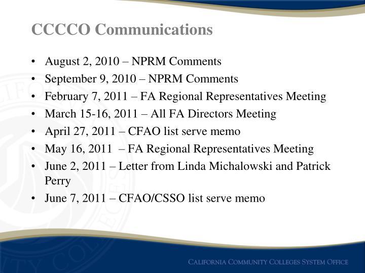 CCCCO Communications