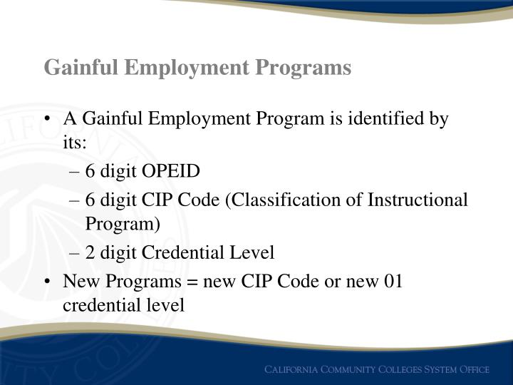 Gainful Employment Programs