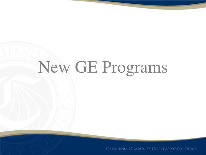 New GE Programs