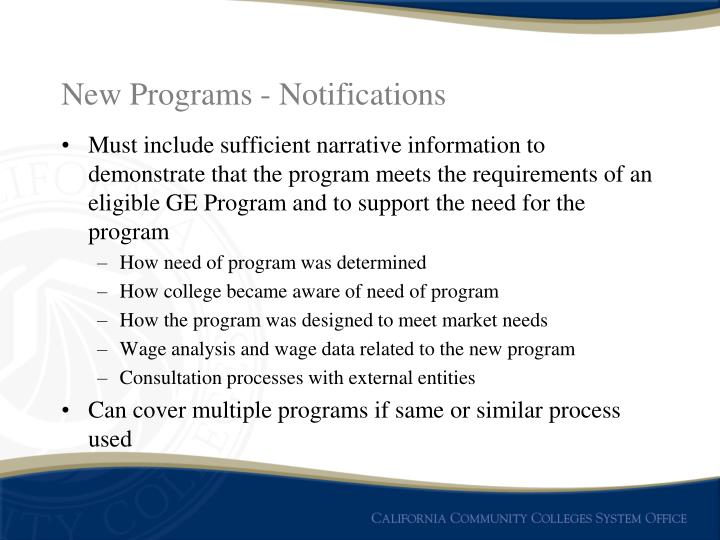 New Programs - Notifications
