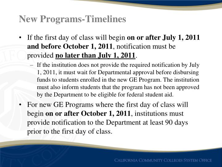 New Programs-Timelines