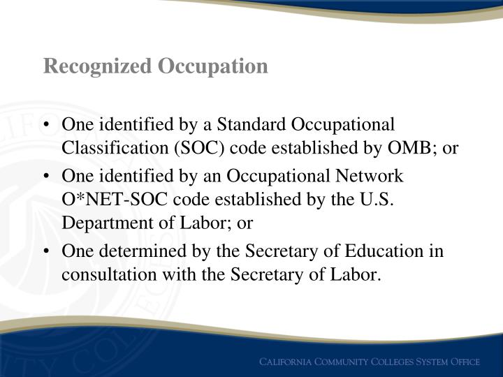Recognized Occupation
