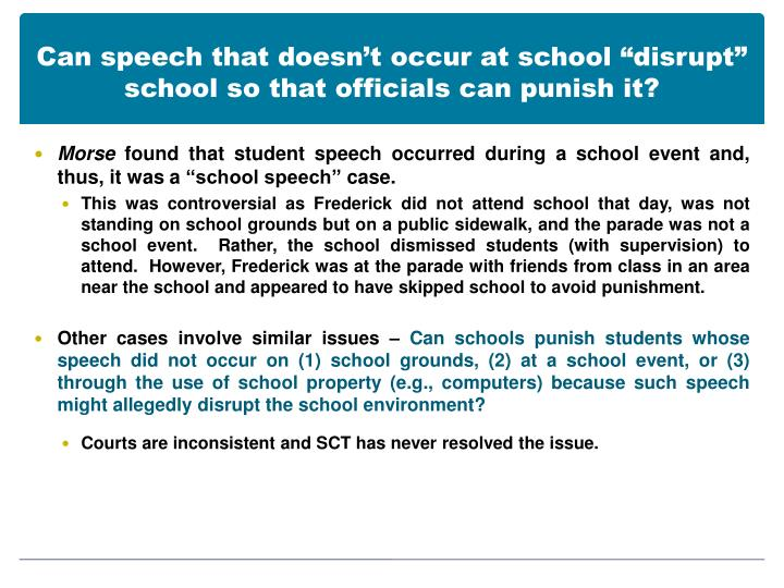 "Can speech that doesn't occur at school ""disrupt"" school so that officials can punish it?"