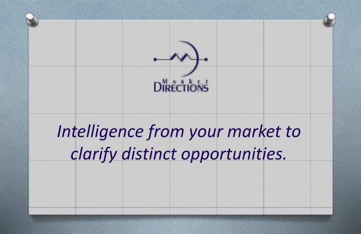 Intelligence from your market to clarify distinct opportunities