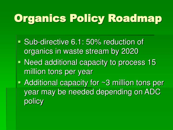 Organics policy roadmap