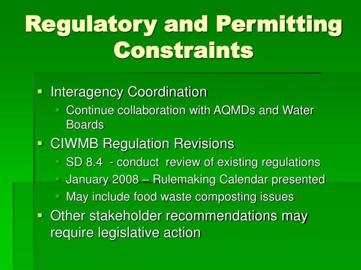 Regulatory and Permitting Constraints