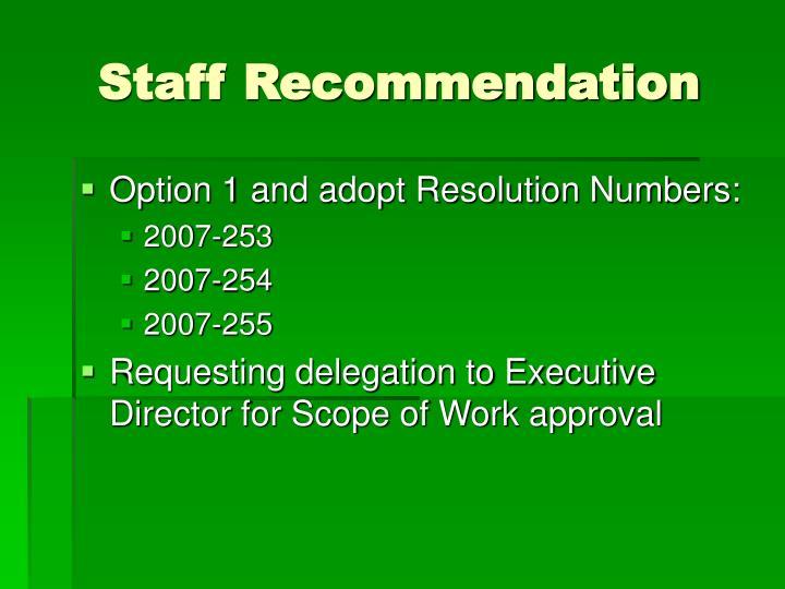 Staff Recommendation