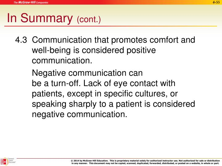 4.3  Communication that promotes comfort and