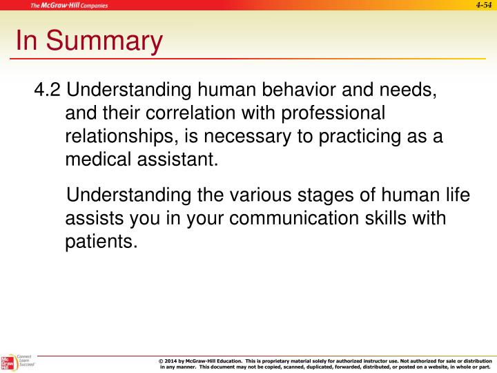 4.2 Understanding human behavior and needs, and their correlation with professional relationships, is necessary to practicing as a medical assistant.