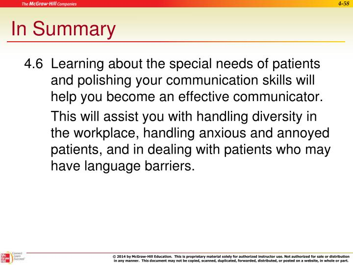 4.6  Learning about the special needs of patients