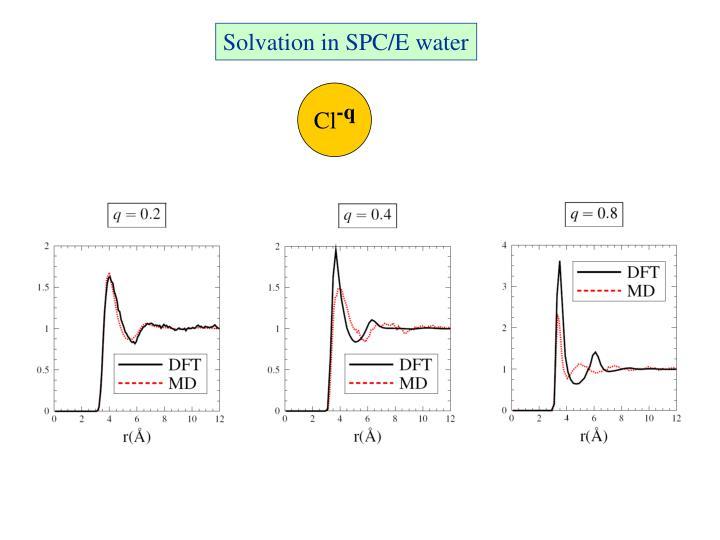 Solvation in SPC/E water
