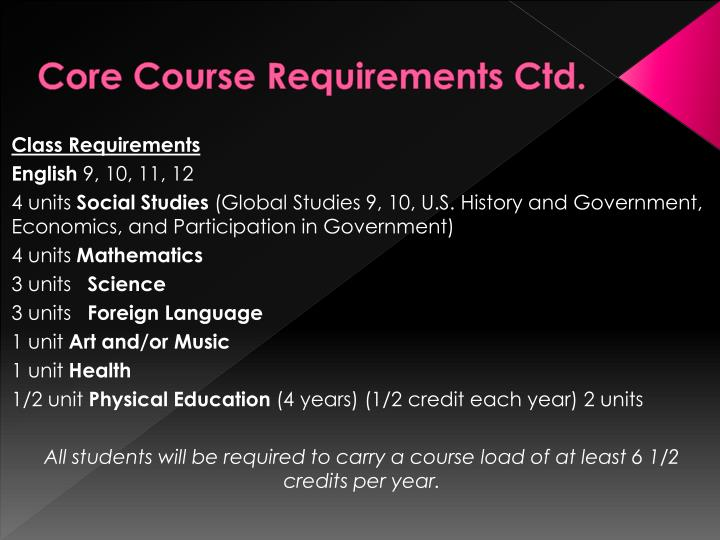 Core Course Requirements Ctd.