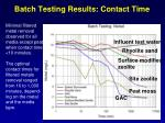 batch testing results contact time