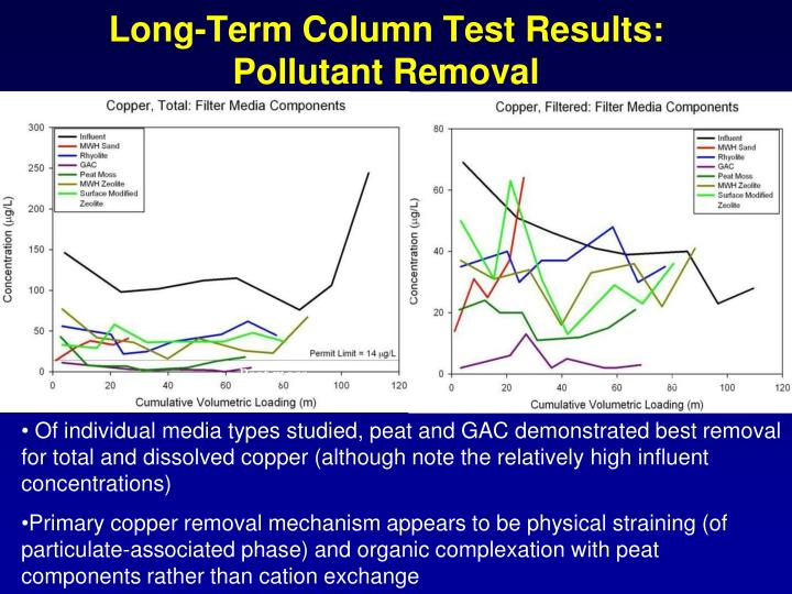 Long-Term Column Test Results: Pollutant Removal