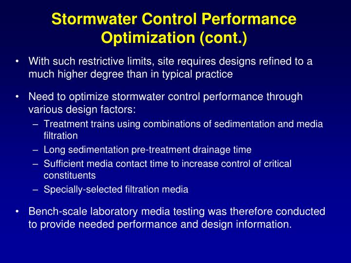 Stormwater control performance optimization cont