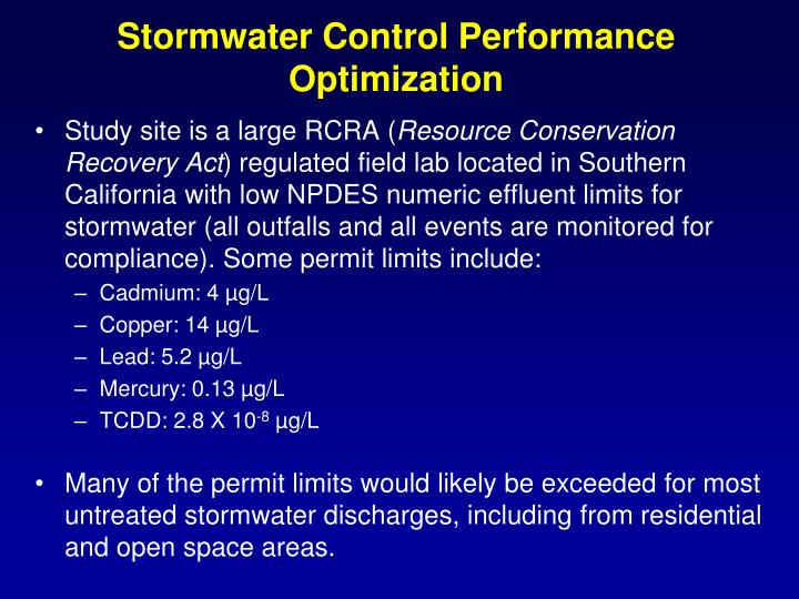 Stormwater control performance optimization