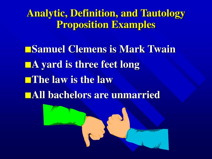 Analytic, Definition, and Tautology Proposition Examples