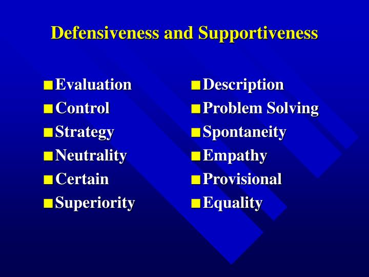Defensiveness and supportiveness