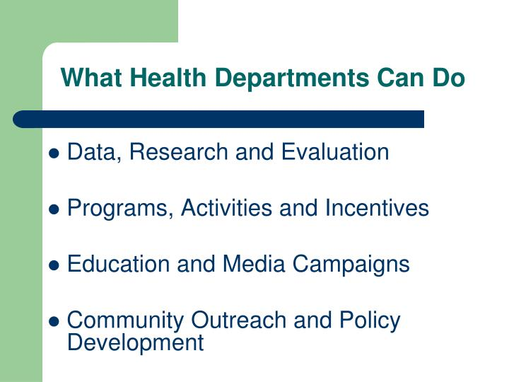 What Health Departments Can Do