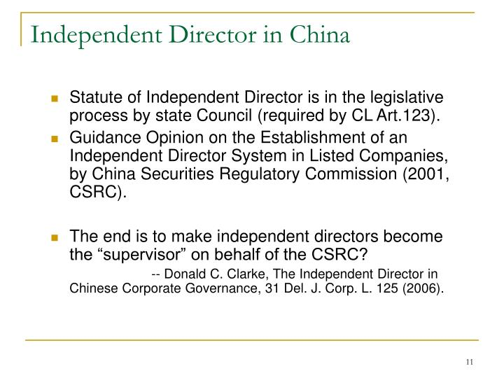 Independent Director in China