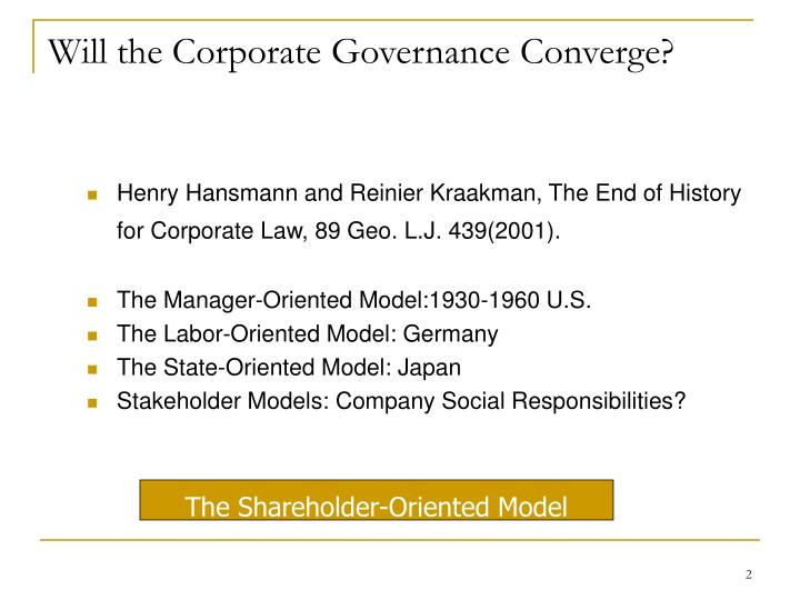 Will the corporate governance converge