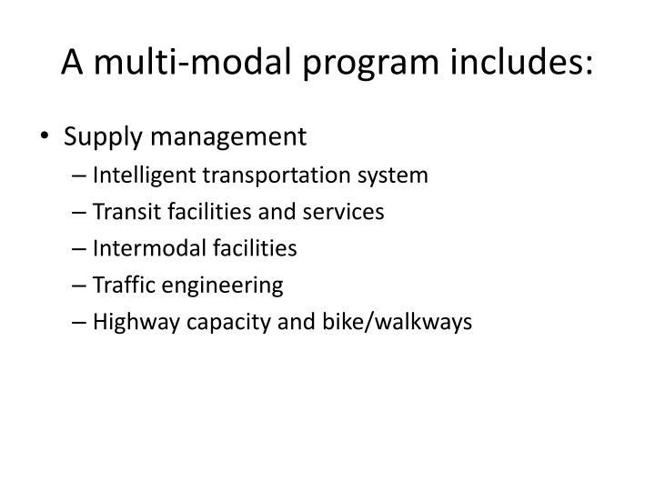 A multi-modal program includes: