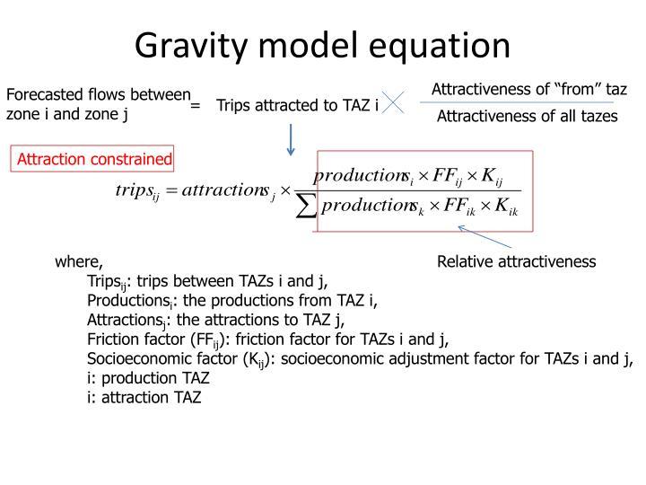 Gravity model equation
