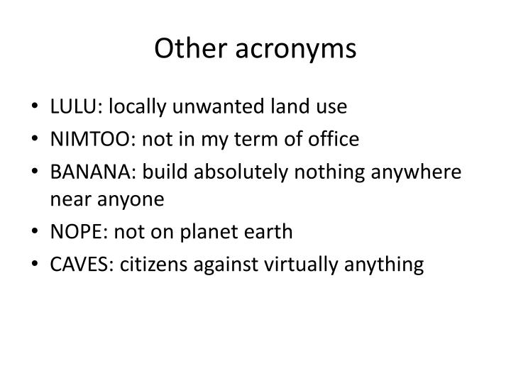 Other acronyms