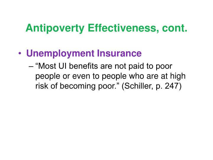 Antipoverty Effectiveness, cont.