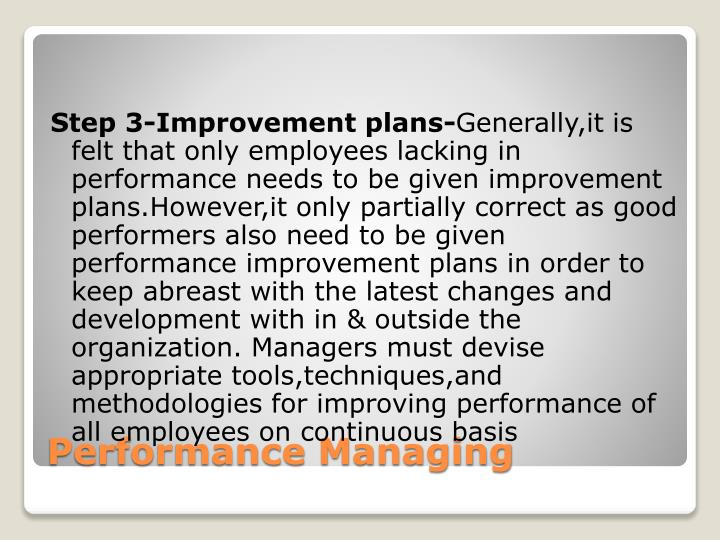 Step 3-Improvement plans-