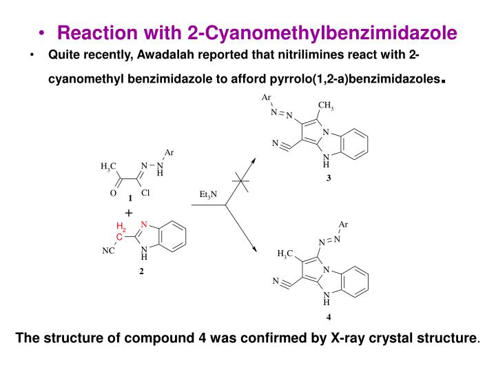 Reaction with 2-Cyanomethylbenzimidazole
