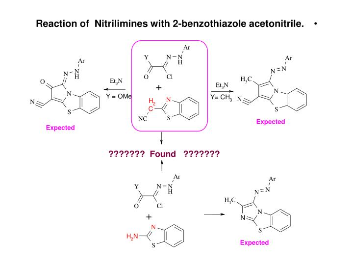 Reaction of  Nitrilimines with 2-benzothiazole acetonitrile.