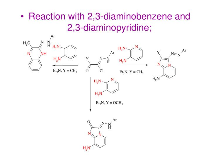 Reaction with 2,3-diaminobenzene and 2,3-diaminopyridine;